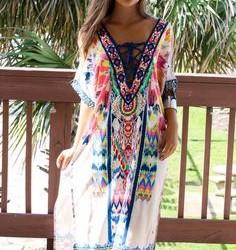 Yazlık Tül Detaylı Etnik Desenli Elbise Modelleri