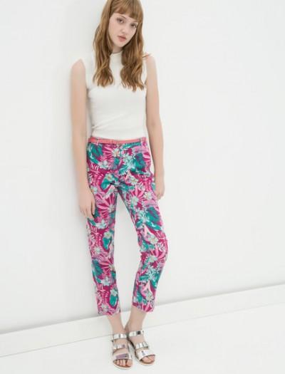 Yeni Sezon Çiçek Desenli Koton Pantolon Modelleri 2016