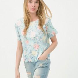 Yeni Sezon Çiçek Desenli Koton Tişört Modeli 2016