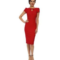 Yeni Sezon Kırmızı Renkli Kalem Elbise Tasarımları