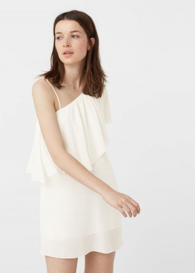İp Askı Detaylı Mini Boy Beyaz Renkli Mango Elbise Modeli