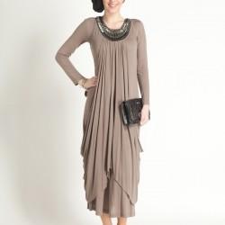 Boncuk işleme Detaylı Pileli Tesettür Elbise Modelleri