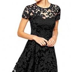 Yuvarlak Yaka ve Çok Şık Dantelli Siyah Elbise Modelleri