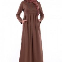 Pileli Tesettür Elbise Modeli