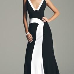 Siyah ve beyaz Renklerde Göğüs Dekolteli Abiye Modelleri