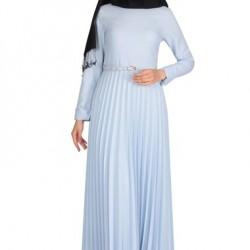 Oldukça güzel ve zarif pileli tesettür elbise modelleri
