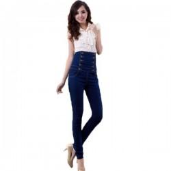 Düğme Detayı Dar Paça Yüksek Bel Pantolon Modelleri