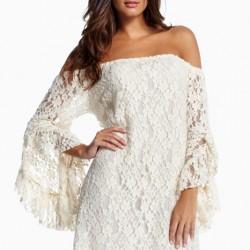 En Dikkat Çekici Dantel Detaylı Beyaz Elbise