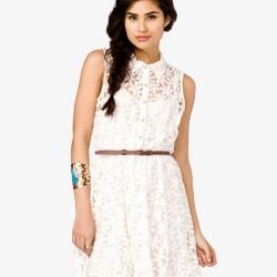 Kemer ve Yaka Detaylı Dantelli Elbise Modeli