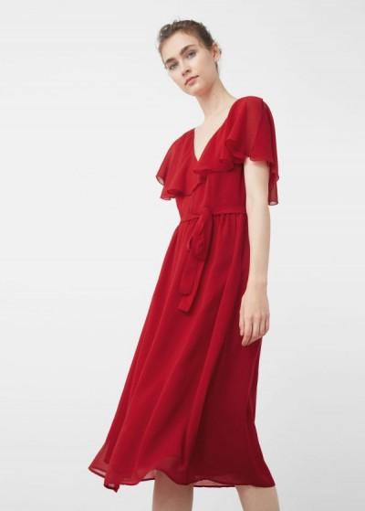 Kuşak Detaylı Pembe MAngo Elbise Modeli