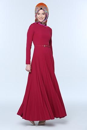 Mürdüm Renkte Pileli Çok Zarif Tesettür Elbise Modelleri