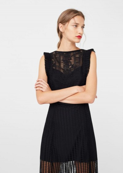 Sırt Dekolteli Tül Detaylı En Zarif Mango Elbise Modelleri