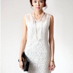 Sade ve Şık Dantelli Beyaz Elbise Modeli