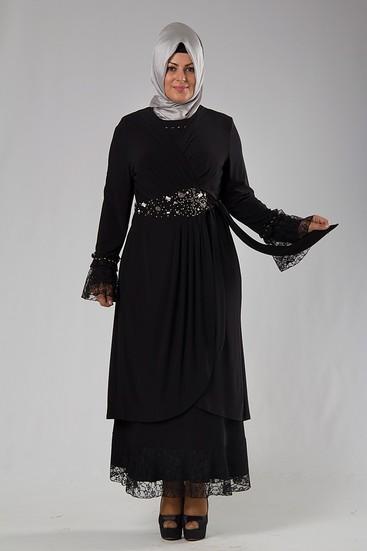 Siyah Tesettür Anne Abiye Modelleri
