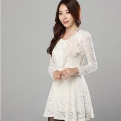Uzun Kollu Beyaz Dantelli Elbise Modeli