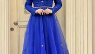 Saks Mavisi Çok Şık 2017 Tesettür Abiye Modası
