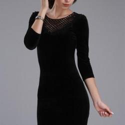 Partırtı Giyim Çok Şık Kadife Elbise Modeli