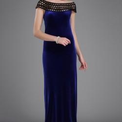 Mavi Renkli Çok Güzel Örgü Yaka Detaylı Patırtı Kadife Abiye Modeli