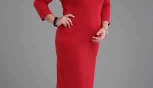 Üzeri Siyah Dantel Detaylı Kırmızı Elbise Modeli
