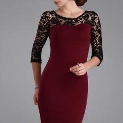 Üstü Dantel Detaylı Çok Kibar Yeni Sezon Patırtı Elbise Modelleri