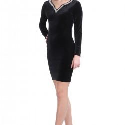 Patırtı Giyim Göz Alıcı Yakası Taş Detaylı Kadife Elbise Modeli