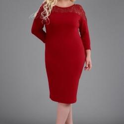 En Güzel Kırmızı Renkli Büyük Beden Elbise Modelleri