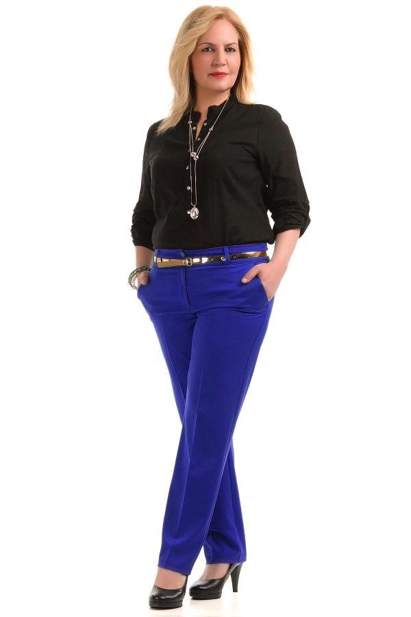 Saks Mavisi Çok Şık Patırtı Büyük Beden Pantolon Modelleri