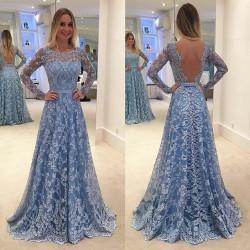 En Güzel Uzun Kollu Abiye Modeli