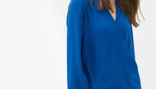 """Saks Mavisi """"V"""" Yaka Detaylı Koton Marka Yeni Bluz Modeli"""