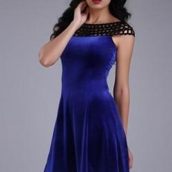 Mavi Renkli Çok Şık Örgü Yaka Detaylı Patırtı Giyim Kadife Elbise Modeli
