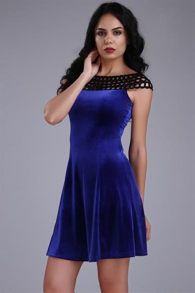 a32f9bc23bb08 Mavi Renkli Çok Şık Örgü Yaka Detaylı Patırtı Giyim Kadife Elbise Modeli