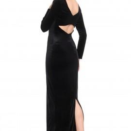 Sırt Dekolteli ve Yırtmaç Detaylı Patırtı Kadife Abiye Modeli