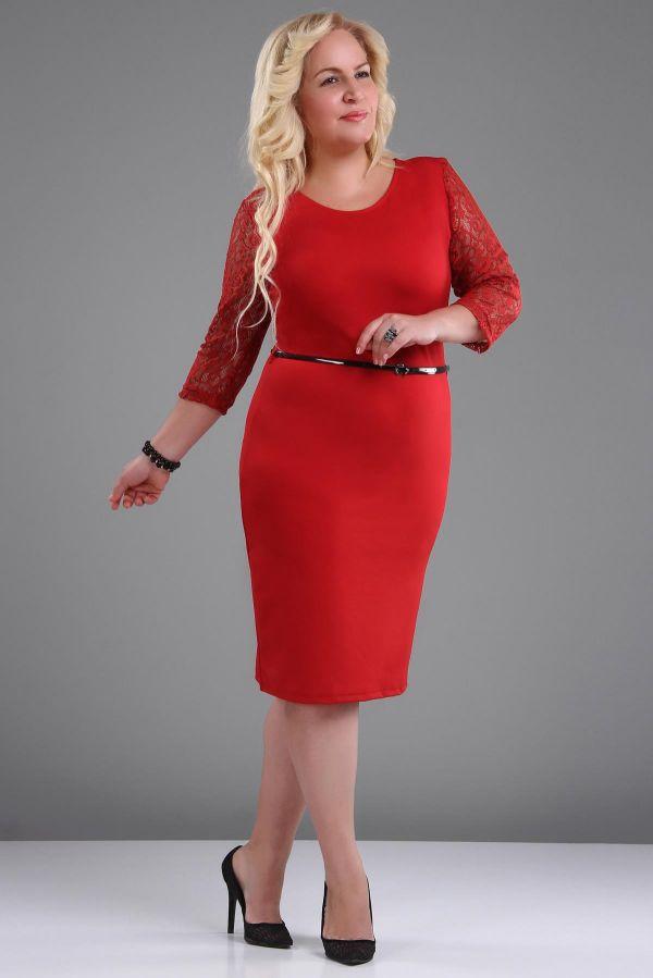 İnce Kemer Detaylı Büyük Beden Elbise Modelleri