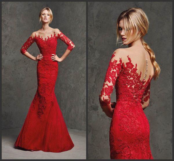 Kırmızı Renkli Çok Güzel Kolları Dantel Detaylı Abiye Modelleri