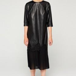 Deri Detayı İle Muhteşem İpekyol Elbise Modeli