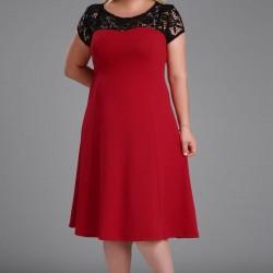Üzeri Dantel Detaylı Çok Şık Büyük Beden Elbise Modelleri