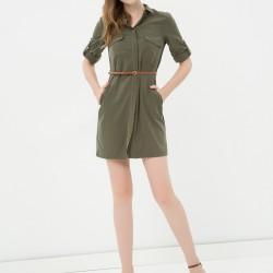 Kemer Detaylı Sade Yeni Sezon Koton Elbise Modeli