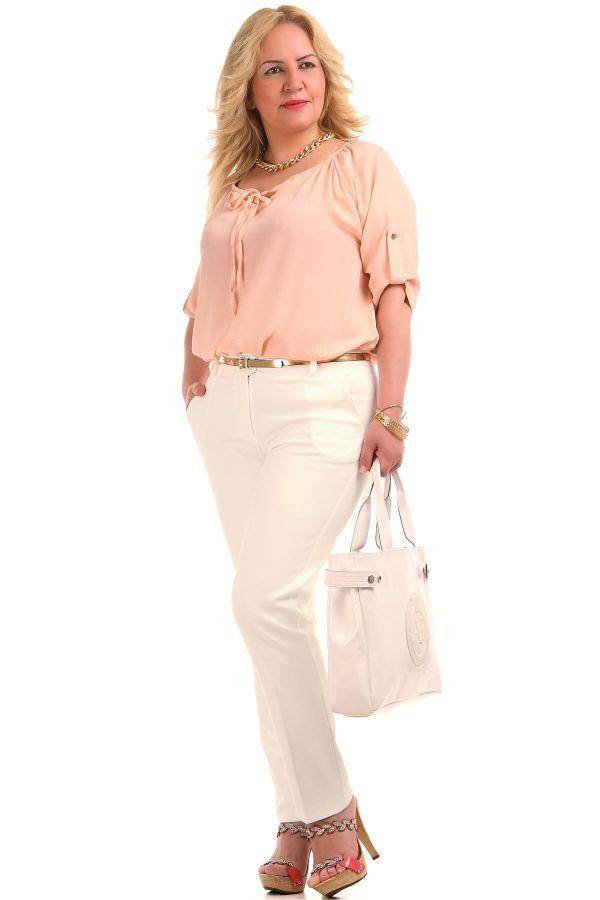 Beyaz Renkli Çok Şık Büyük Beden Pantolon Modelleri