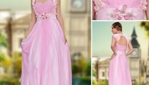 Pembe Renkli Çok Tatlı Genç Kız Uzun Abiye Modeli