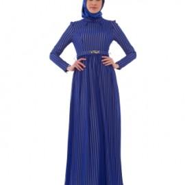 Pile Detaylı Saks Mavisi Çok Şık Armine Elbise Modelleri