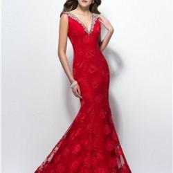 Taş İşlemeli Çok Şık Kırmızı Uzun Abiye Modeli