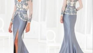 Saten Kumaş Detaylı Çok Zarif Uzun Kollu Abiye Modeli
