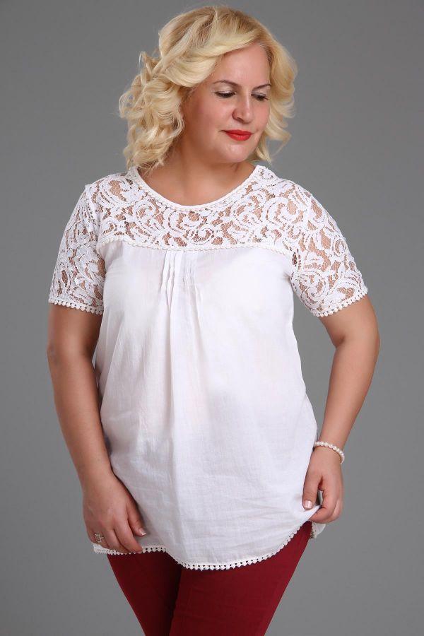 Beyaz Dantel Detaylı Çok Şık Büyük Beden Bayan Bluz Modelleri