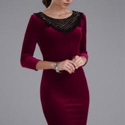 Çok Şık ve zarif Patırtı Kadife Elbise Modeli
