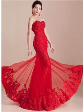 Tül ve Dantel Süslü Kırmızı Uzun Abiye Modeli
