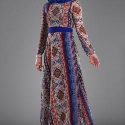 Desenli ve Kuşak Detaylı Çok Şık Patırtı Tesettür Elbise Modeli