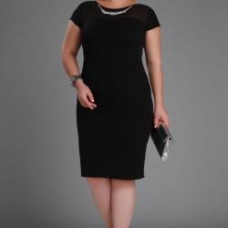 Siyah Renkli En Güzel Patırtı Büyük Beden Elbise Modelleri