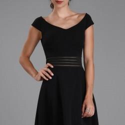 Siyah Kayık Yaka Patırtı Elbise Modelleri
