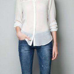 2017 Şifon Detaylı Bayan Gömlek Modelleri