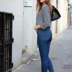 2017 Sokak Modasının Vazgeçilmezlerinden Yüksek Bel Kot Pantolon Modelleri
